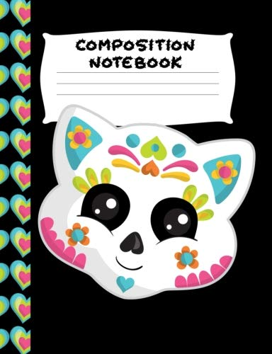Composition Notebook: White Blue Sugar Skull Kitty | Wide Ruled Paper | Girls, Student Teacher, Gift | 120 Pages ()