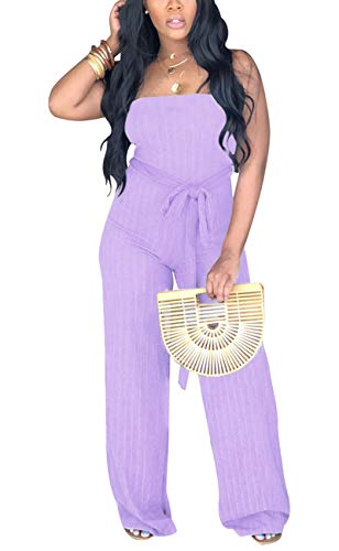 - Aro Lora Women's Sexy Sleeveless Ribbed Tube High Waist One Piece Pant Outfit Wide Leg Jumpsuit Romper Large Purple