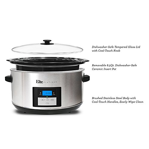 Maxi-Matic MST-900D Digital Programmable Slow Cooker, Oval 3 Temperature Settings and Timer, 8.5 QT, Stainless Steel