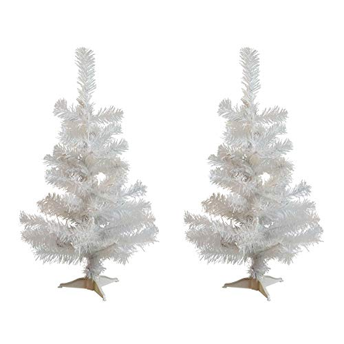 (Harbour Housewares 2ft Artificial Christmas Tree with Stand - White - Pack of 2)