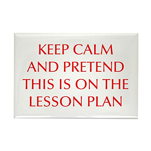 CafePress KEEP-CALM-LESSON-PLAN-OPT-RED Rectangle Magnet, 2