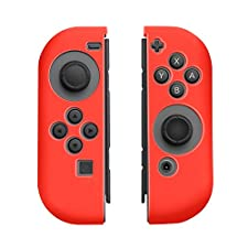 Insten Nintendo Switch Joy-Con [L/R] Cover [Anti-Slip/Ultra Thin] Protective Skin Cover Case For Nintendo Switch Joy Con Left/Right Controller [2017 New Release], Red