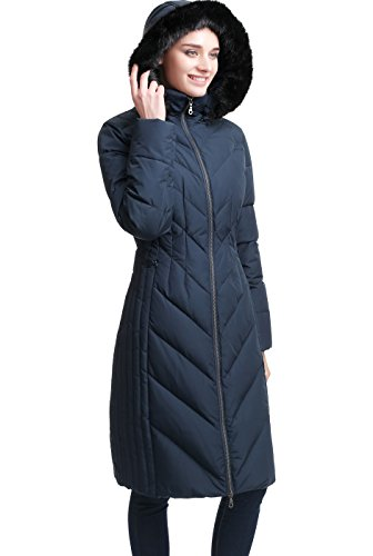BGSD Women's Marlene Water Resistant Hooded Long Down Coat - Navy (Goose Down Winter Coat)