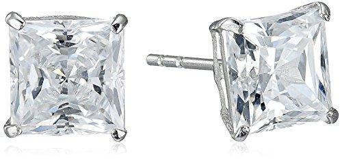 Jewelili 10K White Gold Stud Earrings set with Princess Cut Swarovski Zirconia (2 cttw) (10k Engraved Earrings)