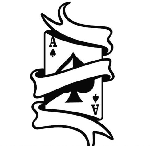 - ACE OF SPADES WITH SCROLL CAR DECAL STICKER, Black, 6 Inch, Die Cut Vinyl Decal, For Windows, Cars, Trucks, Toolbox, Laptops, Macbook-virtually Any Hard Smooth Surface