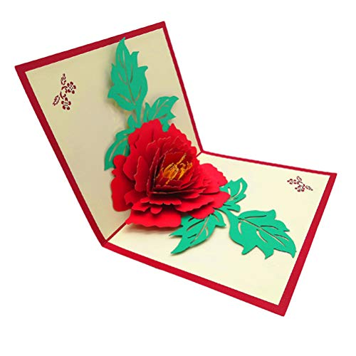 Mother's Day 3D Pop up Gift Card for Mum - Birthday Card, Anniversary Card, Wedding Card, Greeting Card Best Wish Gift Ideal for All Occasions (Peony)