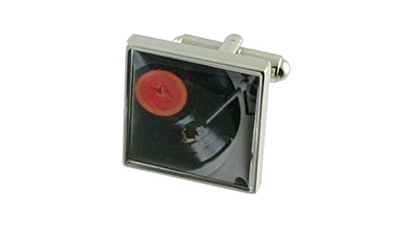 Select Gifts Cuff Links Record Player Music Themed Engraved Personalised Box