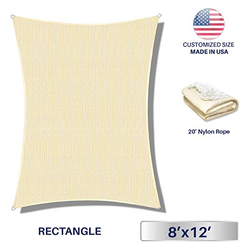 (Windscreen4less 8' x 12' Rectangle Sun Shade Sail-Beige with White Strips Durable UV Shelter Canopy for Patio Outdoor Backyard-Custom, 8' x 12')