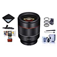 Rokinon Auto Focus 50mm f/1.4-16 FE Lens for Sony E-Mount - Bundle With 67mm Filter Kit, Cleaning Kit, Lens Wrap, Lenspen Lens Cleaner, Capleash II, Mac Software Package