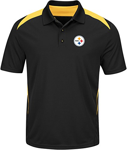 VF LSG NFL Pittsburgh Steelers Men's Front Office Program Short Sleeve Synthetic Polo, Black/Yellow Gold, Medium