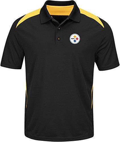 Nfl Golf Shirt - VF LSG NFL Pittsburgh Steelers Men's Front Office Program Short Sleeve Synthetic Polo, Black/Yellow Gold, Medium