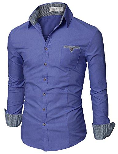 (Doublju Mens Tailored Fit Button Down Plaid Flannel Casual Shirt, Denim XX-Large)