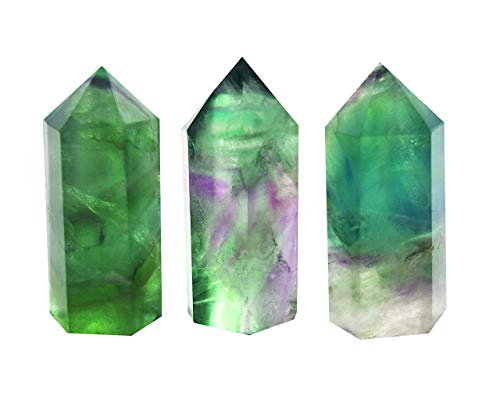 Set of 3 Pointed & Faceted Healing Crystal Wands Made of Natural Green Fluorite Stone for Reiki Chakra Meditation Therapy Decor