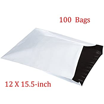 SJPACK 2.5 Mil 12x15.5-inch Poly Mailers Envelopes Bags, White Shipping Bags (100 Bags)