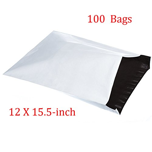 SJPACK 2.5 Mil 12x15.5-inch Poly Mailers Envelopes Bags, White Shipping Bags