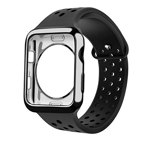 Rockvee Replacement Bands Compatible with Apple Watch 38mm 40mm 42mm 44mm with Case, Soft Silicone Sport Wristband with Apple Watch Screen Protector Compatible for iWatch Series 4 3 2 1