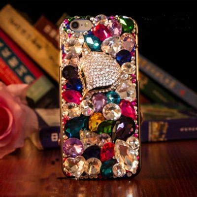 Rhinestone Cases - Phone case Lovely Bling Crystal Diamonds Rhinestone 3D Stones Hard Back Cover for iPhone 7/5/5S for Samsung Galaxy S5 6 7 Edge ( ()