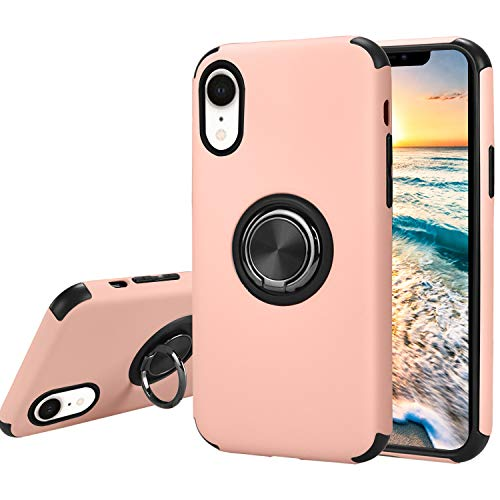 Ownest Compatible iPhone XR Case with Armor Dual with Ring Kickstand Fit Magnetic Car Mount and Heavy Duty Protection 2 in 1 for iPhone XR-Pink