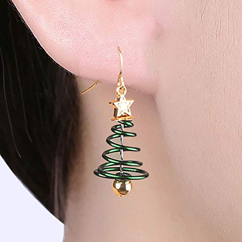 GoFunGo Christmas Tree Dangle Hook Earrings, Holiday Party Drop Earrings, Festival Gift Idea, Thanksgiving Themed Handmade Earrings Small Cute Christmas Costume Jewelry for Women Girls ()
