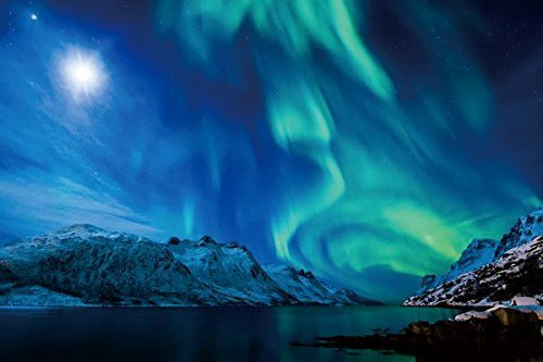 Nature Poster Canvas Art Print - Northern lights aurora borealis uk