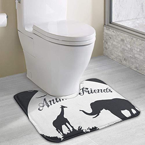 Bennett11 Zoo Animal Friends Baby Elephant and Giraffe Bath Rugs,U-Shaped Bath Mats,Soft Foam Bathroom Carpet,Nonslip Toilet Floor Mat 19.2″x15.7″