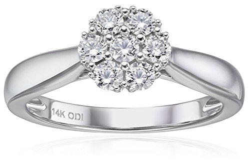 IGI Certified 14k White Gold Diamond Cluster Solitaire Engagement Ring (1/2carat, H-I Color, I1-I2 Clarity), Size (Diamond Cluster)