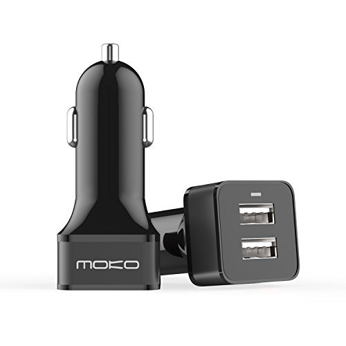 MoKo USB Car Charger, 24W 4.8A Dual-Port Fast Charge USB Car Charger Adapter Compatible with iPhone Xs Max/XR/X/8/7/6 Plus, iPad Air/Mini/Pro, Samsung Galaxy S10/S10e/S9/S8, Edge Note Series and More