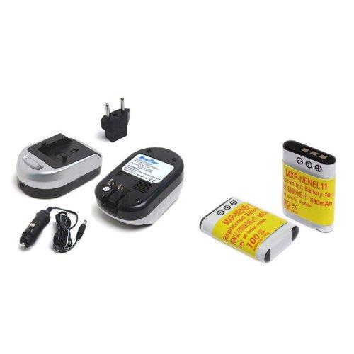 Maximal Power FC600 NIK ENEL11 and DB NIK EN-EL11 Camera Battery and Charger Combo for Nikon ENEL11 EN-EL11 Coolpix S550 S560 (Black Silver)