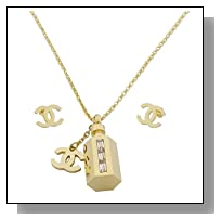 Think Positive Women's Stainless Steel Fashion Jewelry Sets 2 Pendants with Cubic Zirconia Chain Necklace Earrings Stud Gold Plating