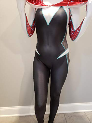 CosplayLife Gwen Stacy Cosplay Costume Into the SV Ghost Gwen Lycra Spandex Fabric Bodysuit For Women And Kids