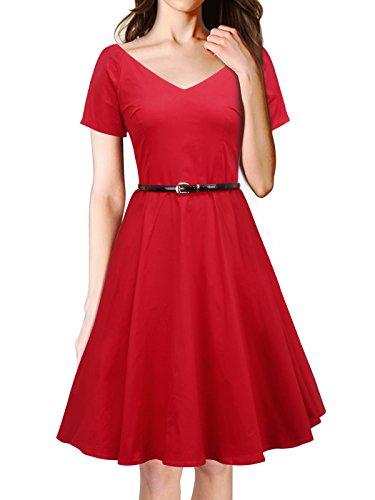 Women's Vintage 1950s V-neck Dress With Belt Short Sleeve Swing Rockabilly Gown Party Dress