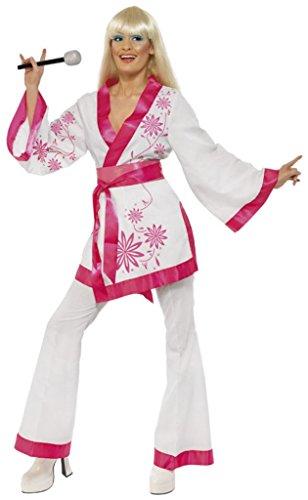 1970s Mini (Smiffy's Women's Mini Kimonos Costume Kimonos Top with Belt and Flares 1970's Style, White/Pink, Large)