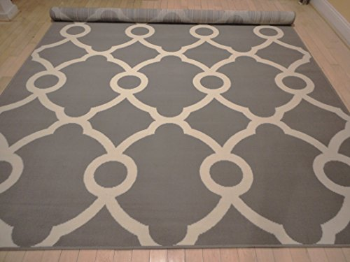Large Black And White Area Rugs: Large Moroccan Style Modern Rug For Living Room White Gray