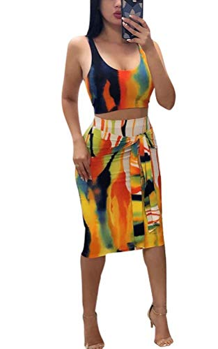 (Women Two Piece Set Sleeveless Strap Shirts + Midi Skirt Suit Clubwear Yellow#2 M)