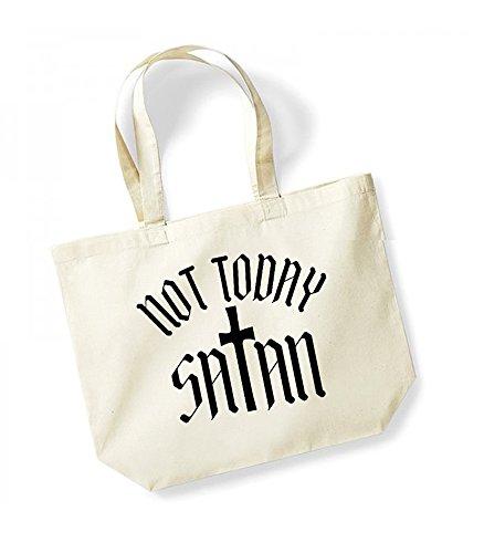 Not Today Satan - Cross - Large Canvas Fun Slogan Tote Bag Natural/Black
