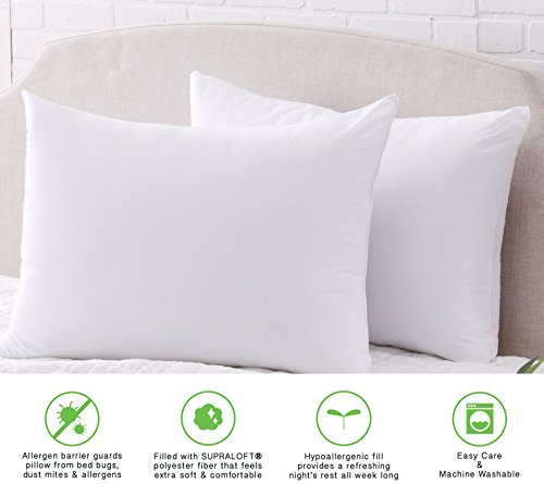Great Bay Home Springs Home Hypoallergenic Pillows for Sleeping. Allergen Barrier Protection. Made in the USA. (2 Pack, Standard/Jumbo)
