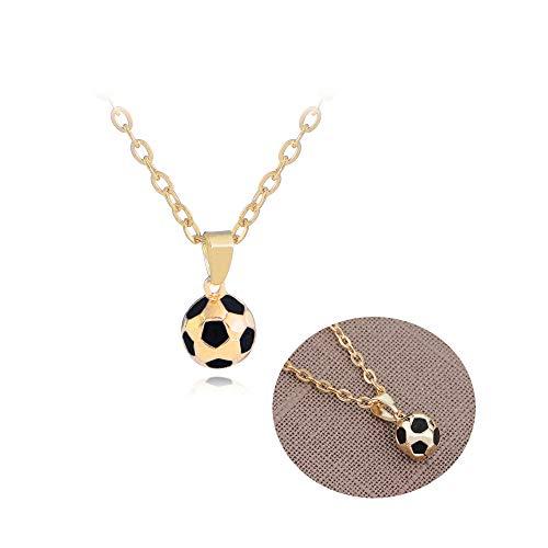 Frodete 3D Memorial Gold Soccer Football Pendant Necklace for Men Women World Soccer Fans Spherical Necklace (Gold)