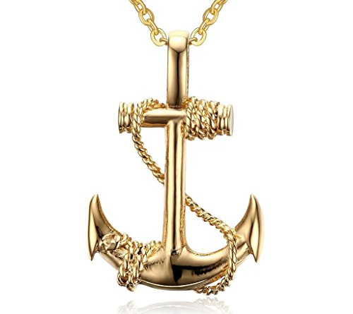 Anne Boleyn Costume Necklace (BBX Gold Plated Stainless Steel Boat Anchor Pendant Necklace,Free Rolo Chain,Gold)