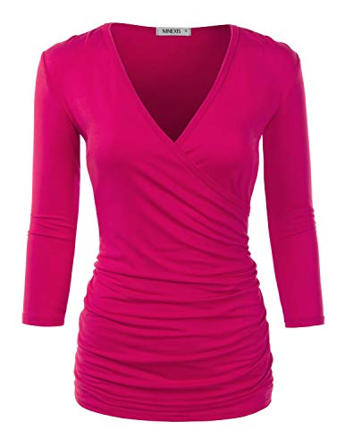 (NINEXIS Womens Long Sleeve Crossover Side Wrap Surplice Casual Top FUCHISIA)