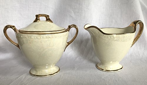 Vintage Homer Laughlin - Vintage Homer Laughlin Eggshell Georgian Iridescent w/Gold Trim Cream & Sugar Set M 47 N 5