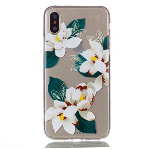 iPhone X Hülle , Modisch Weiße Blume Entlastung Transparent TPU Silikon Schutz Handy Hülle Handytasche HandyHülle Etui Schale Schutzhülle Case Cover für Apple iPhone X