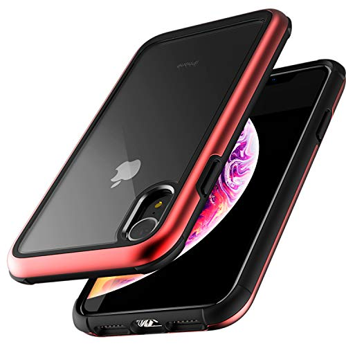 ZUSLAB [Iron Shield] for Apple iPhone XR Case with Military Grade Drop Tested, Aluminum + TPU Bumper and Transparent Hard Clear Back Cover, Protective Shockproof Heavy Duty Case- Metallic Red