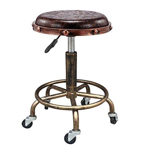 (Decorative stool Vintage Bar Stools, Industrial Wind Creative PU Stool Cosmetic Stool Can Lift High Stool Swivel Chair Hairdressing Stool Universal Wheel Small Stool Lift Height 48-65CM (Color : C) )