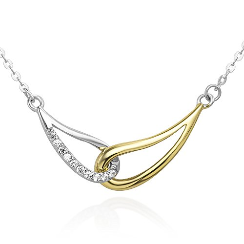 Chuvora 925 Sterling Silver Yellow Gold Two Tone Infinity Endless Love Symbol CZ Pendant Necklace 16''-18