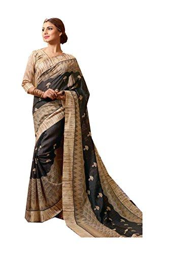 Da Facioun Indian Sarees For Women Wedding Designer Party Wear Traditional Dark Grey Sari by Da Facioun
