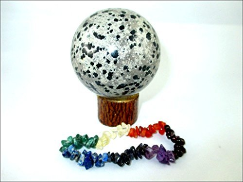 Jet Dalmation Jasper 45-50 mm Ball Sphere Gemstone A+ Hand Carved Crystal Altar Healing Devotional Focus Spiritual Chakra Jet International Crystal Therapy Booklet Image is JUST A Reference