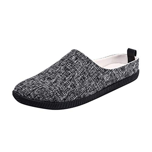 Lovygaga Fashion Men Popular Comfortable Hemp Casual Shoes Simple Solid Color Slip-on Breathable Canvas Flats Slippers Black