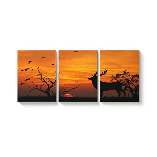3 Panel Modern Canvas Wall Art Home Decor Silhouette of Dead Tree Bird and Deer at Dusk Oil Painting Giclee Artwork for Wall Decor 16x20inx3