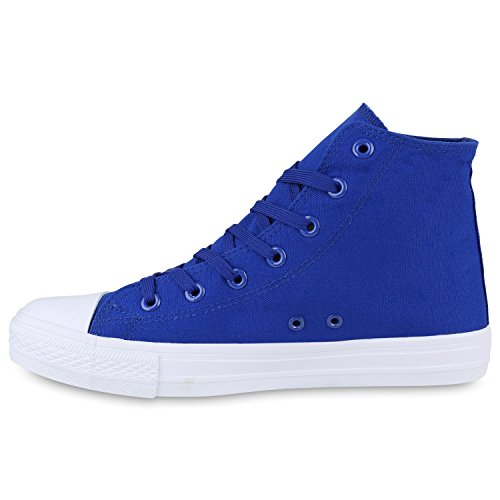 Übergrößen Total Stiefelparadies Damen Flandell high Herren Blau Sneaker Unisex XZqXwO