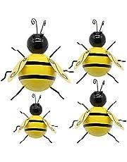 LICHENGTAI 4 stuks metalen bijen wanddecoratie bij muurkunst, metalen muurkunst, tuindecoratie, metaal, kleine bijen, 3D-sculptuur, ornamenten voor buiten, tuin, gazon, omheining, kantoor, slaapkamer decoratie